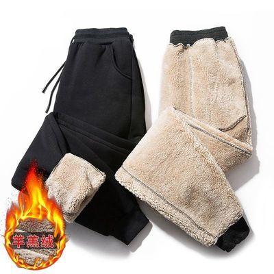 羊羔绒加厚运动裤男青年秋冬季休闲裤子加绒保暖宽松大码九分束脚