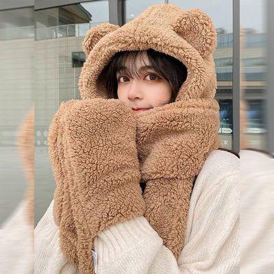 71349/冬天小熊护耳朵帽子围巾一体女秋冬季百搭可爱骑车毛绒保暖韩版潮