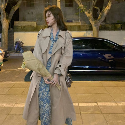 73357/春季2021新款韩版气质宽松卡其色风衣女百搭中长款小个子长袖外套【9月15日发完】