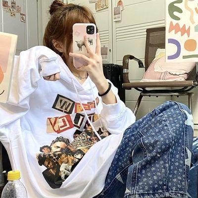 69583/2021秋季新款欧美嘻哈风人物美式印花连帽卫衣女学生韩版宽松