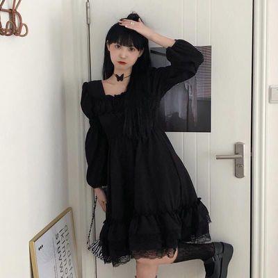 大码设计感黑色裙子秋季2021年新款法式复古蕾丝气质连衣裙女套装