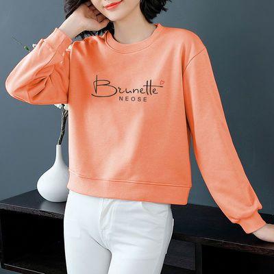 72691/100%纯棉小个子短款卫衣女2021新款韩版宽松百搭高腰外套长袖上衣