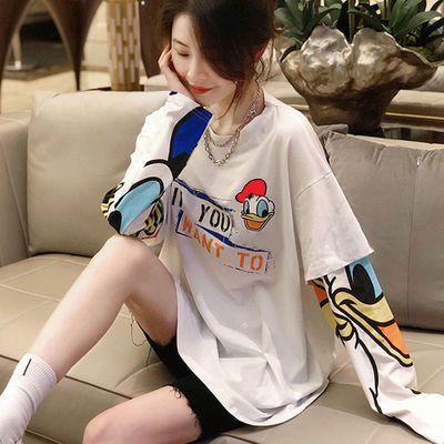 上衣女2021年早秋款学生卡通印花假两件t恤女白色宽松拼接卫衣女