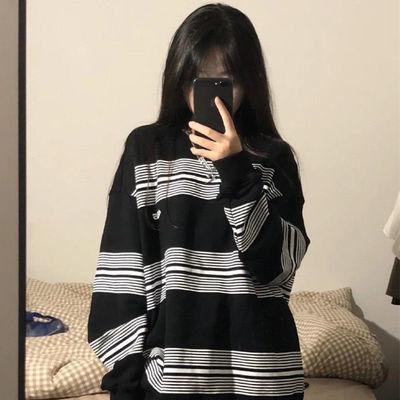 71510/国潮牌美式复古hiphop长袖情侣条纹卫衣女潮ins宽松BF慵懒风上衣