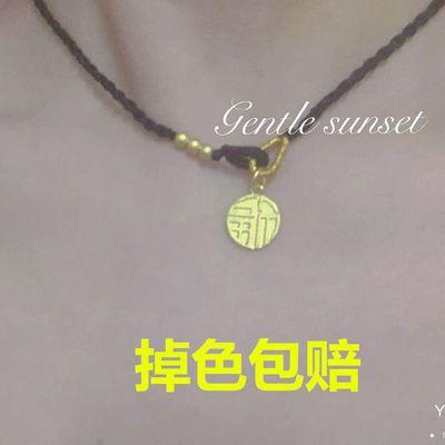 72662/周家同款福牌字项链显锁骨链纯手工黑绳编织气质情侣闺蜜学生项链