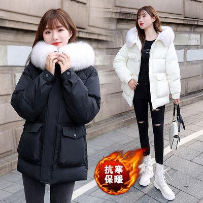 72670/2021年新中长款加厚棉服棉衣棉袄女韩版宽松羽绒大毛领冬季外套潮