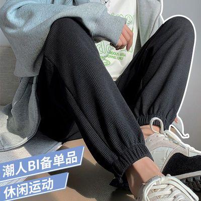 范姿夕2021年新款华夫格束脚裤女抽绳款秋冬宽松休闲灰色运动卫裤
