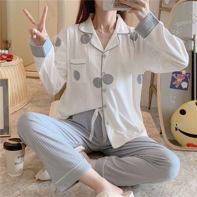 71212/睡衣女春秋季新款纯棉高档韩版长袖学生INS简约家居服套装可外穿