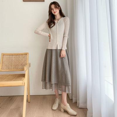74063/两面穿蕾丝针织半身裙长款2021秋冬新款高腰显瘦淑女A字过膝长裙