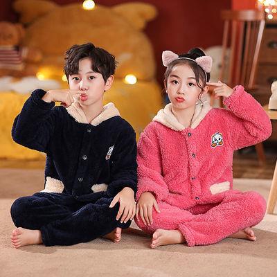 儿童秋冬季法兰绒睡衣男童女童大童加绒加厚宝宝珊瑚绒套装家居服