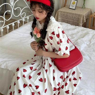 日系甜妹爱心印花海军领中长款连衣裙女夏学院风韩系宽松A字裙潮