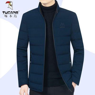 71513/啄木鸟冬季羽绒服轻薄白鸭绒男士冬装短款外套休闲立领加厚保暖