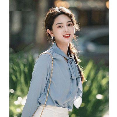 88793/茵曼早秋雪纺衬衫女长袖2021年新款立领绑带垂感优雅法式衬衣上衣