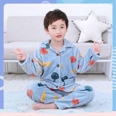 儿童秋冬季法兰绒宝宝小孩大童睡衣套装男童女童女孩珊瑚绒家居服