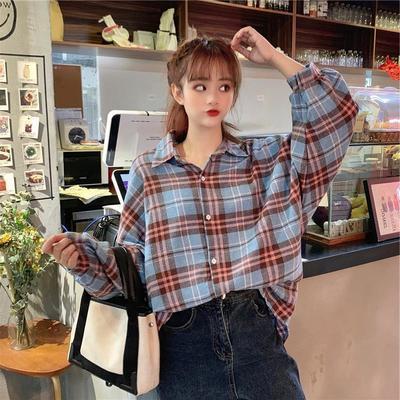 新款灯笼袖复古格子衬衣女韩版BF宽松设计感中长款衬衣外套女开衫