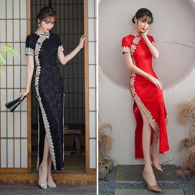 75456/2021新款走秀长款旗袍蕾丝红新娘装礼仪款长款连衣裙