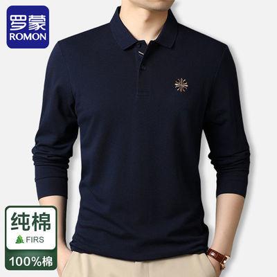 79071/罗蒙高档春秋季长袖t恤男士100%纯棉宽松翻领刺绣上衣打底polo衫
