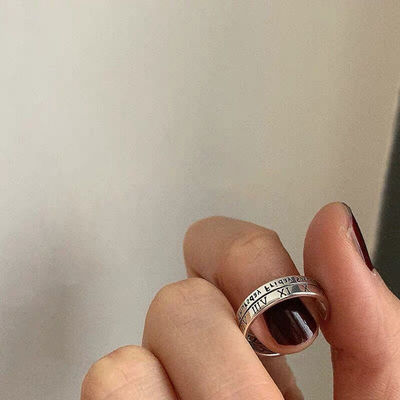 74566/网红ins冷淡风复古罗马数字戒指小众设计男女款情侣指环对戒尾戒