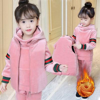 女童金丝绒套装加绒加厚2021新款大童装儿童运动卫衣秋冬装三件套