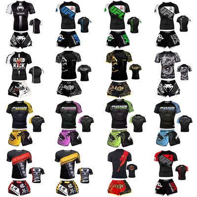 76226/泰拳散打搏击格斗服运动健身速干毒液紧身衣训练服UFC 套装可定制