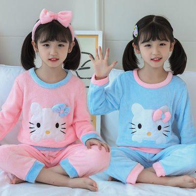 冬季儿童法兰绒睡衣女童珊瑚绒女孩卡通中大童保暖套装家居服