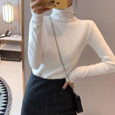 C长袖t恤女秋装新款时尚洋气修身堆堆领上衣服内搭高领白色打底衫