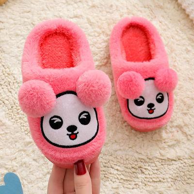 儿童棉拖鞋中小童卡通可爱冬季网红新款毛毛鞋防滑保暖室内居家