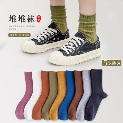 堆堆袜女秋冬百搭薄韩版日系复古双针长袜子女中筒袜ins潮学院风