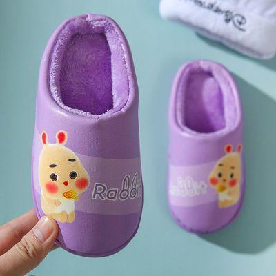 76400/短耳兔儿童棉拖鞋PU皮质卡通宝宝男女童亲子保暖防滑软底防水拖鞋