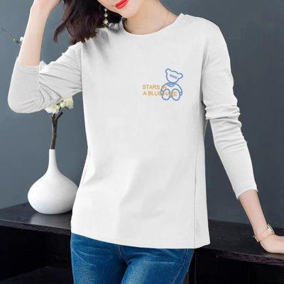75359/长袖t恤女2021新款秋季韩版宽松大码圆领印花简约百搭上衣打底衫