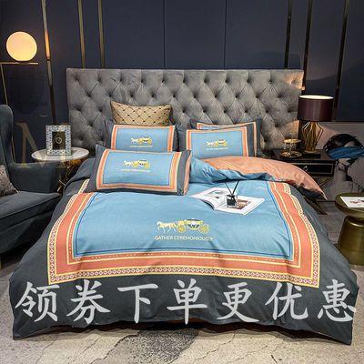 73253/春秋100%加厚磨毛四件套学生宿舍1.5m双人网红款床单被套床上用品