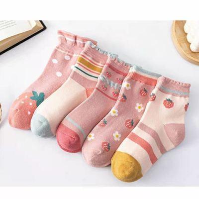 5双装儿童袜子女童纯棉春夏季女孩中筒袜秋天宝宝薄款袜吸汗