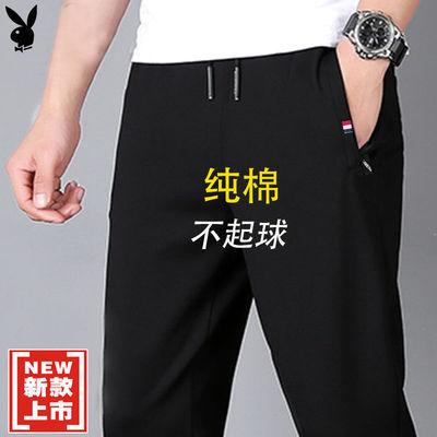 76095/花花公子纯棉男士休闲裤春秋冬季运动裤子宽松潮流直筒裤束脚长裤
