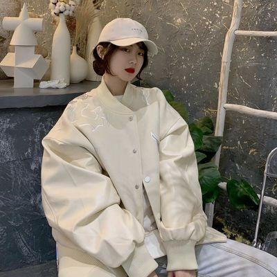 白色烫钻棒球服女2021秋季新款美式hiphop高街情侣外套飞行员夹克【11月10日发完】