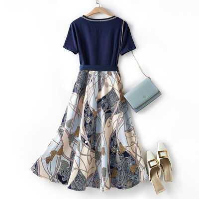 78842/圆领短袖连衣裙女2021年夏季新款时尚修身简约百搭显瘦中长款裙子