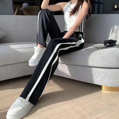 72369/新款潮网红港风黑白拼色阔腿拖地裤女2021秋冬直筒高腰垂感运动裤