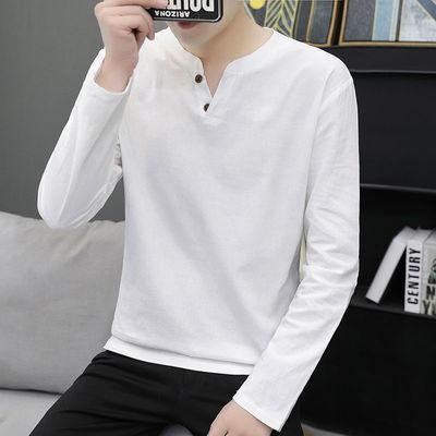 74691/X2021秋季新款百分百纯棉男士长袖T恤男装纯色立领修身男打底衫