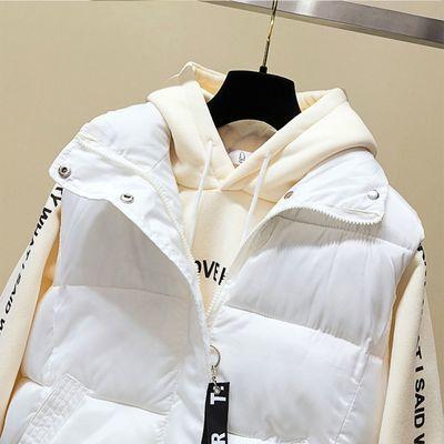 72467/2021棉马甲女毛球短款韩版秋冬羽绒棉服坎肩背心面包服外套