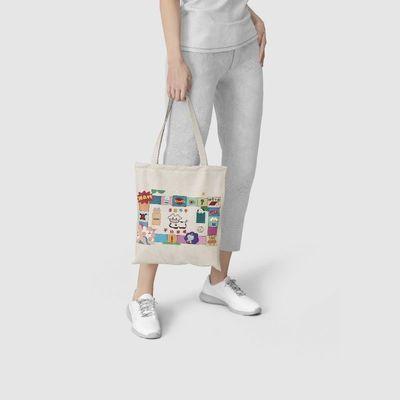 ins学院风印花学生单肩包女日系软妹少女帆布大容量包包购物袋