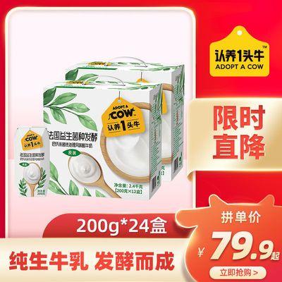 【6月产】认养一头牛原味酸奶200g*24盒常温酸奶整箱批发早餐牛奶
