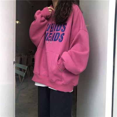 75906/卫衣加厚连帽秋季韩版2021新款潮小个子宽松长袖学生显瘦上衣女装