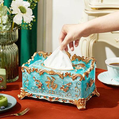 76079/欧式纸巾盒创意家用抽纸盒树脂轻奢客厅茶几多功能遥控器收纳盒