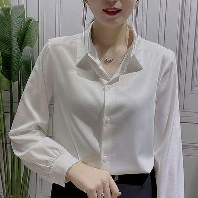 76021/衬衣女百搭气质大码休闲显瘦韩版宽松洋气衬衫时尚遮肚子打底衫潮