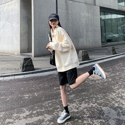 77785/2021秋冬新版POLO领宽松长袖卫衣女韩潮复古外套上衣ins甜美个性
