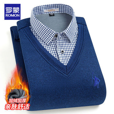 罗蒙冬季男士假两件毛衫男保暖加绒毛衣男衬衫领加厚V领针织衫男