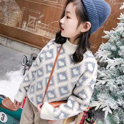 【加绒】水貂绒女童毛衣秋冬儿童洋气女孩打底衫中小童加绒加厚