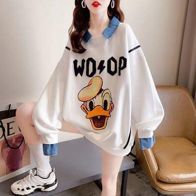 74751/抖音爆款女装Polo领假两件卫衣女韩版宽松学生上衣显瘦字母拼接