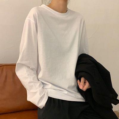 73574/2021新款长袖T恤女装宽松白色打底衫秋装内搭上衣早秋季纯白女生