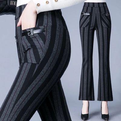 76609/弹力休闲喇叭裤女2021秋季新款高腰修身显瘦格子时尚微喇叭裤长裤