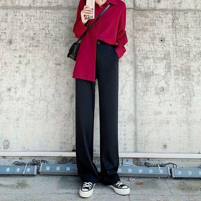 73678/阔腿裤女秋季高腰垂感显瘦百搭黑色直筒宽松休闲西装春夏拖地长裤